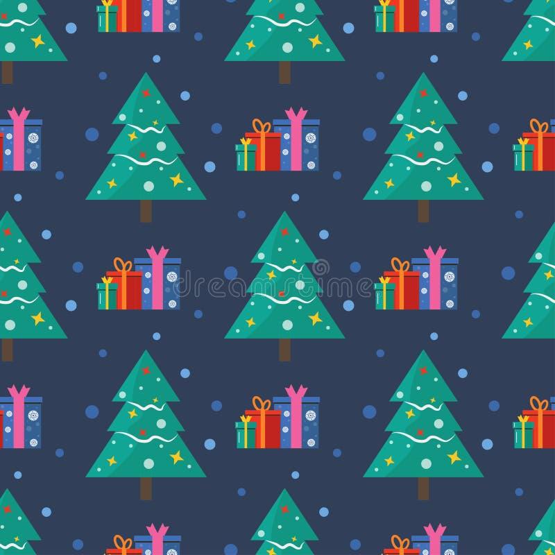 Modèle sans couture pour la carte de voeux de Joyeux Noël avec le sno d'arbre illustration de vecteur