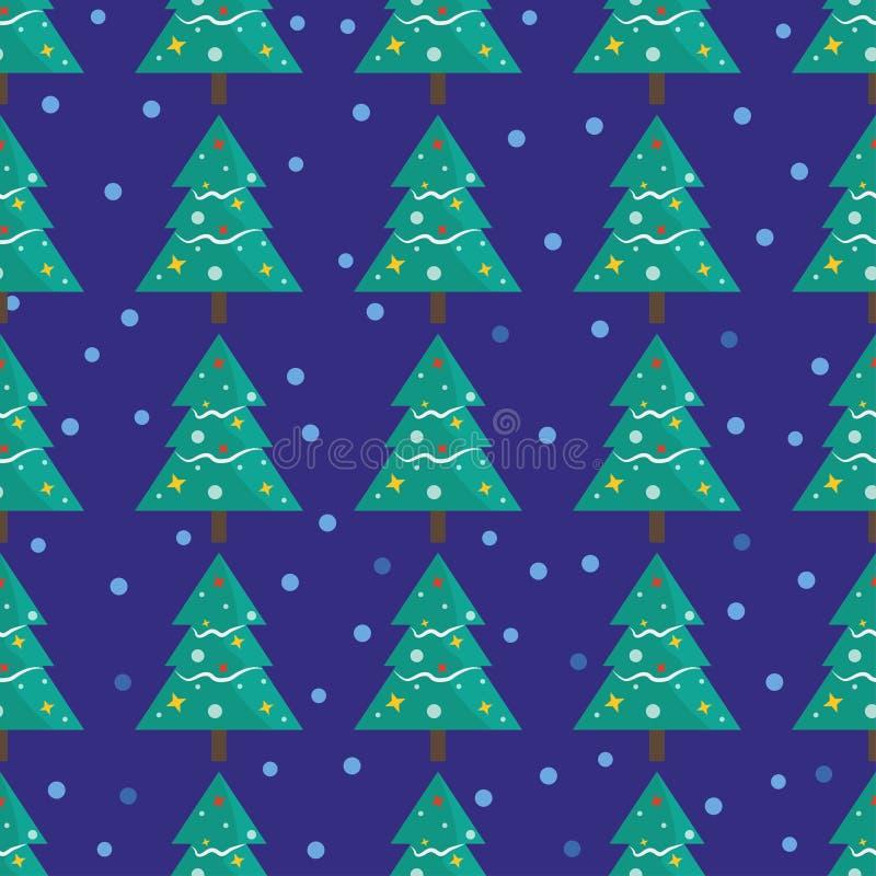 Modèle sans couture pour la carte de voeux de Joyeux Noël avec le sno d'arbre illustration libre de droits
