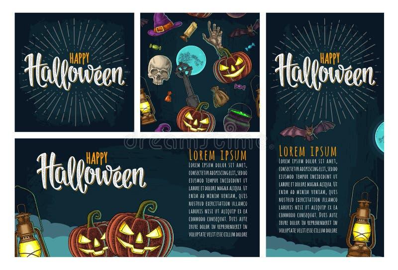Modèle sans couture pour la partie de Halloween Gravure de couleur de vintage illustration de vecteur
