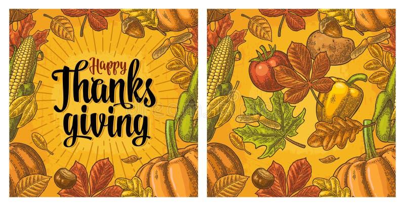 Modèle sans couture pour le jour de thanksgiving Gravure de vintage illustration libre de droits