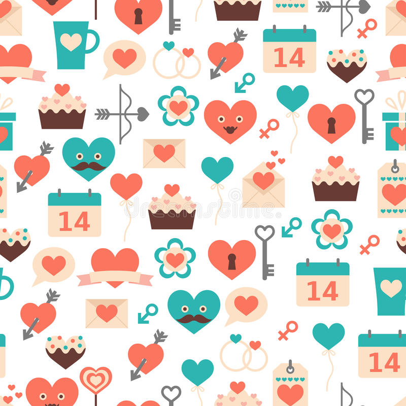 Modèle sans couture pour le jour de valentines, la date et le wedd illustration stock