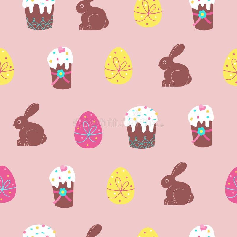 Modèle sans couture pour Pâques Gâteaux mignons de Pâques, oeufs colorés et lapins de chocolat Illustration de vecteur illustration libre de droits