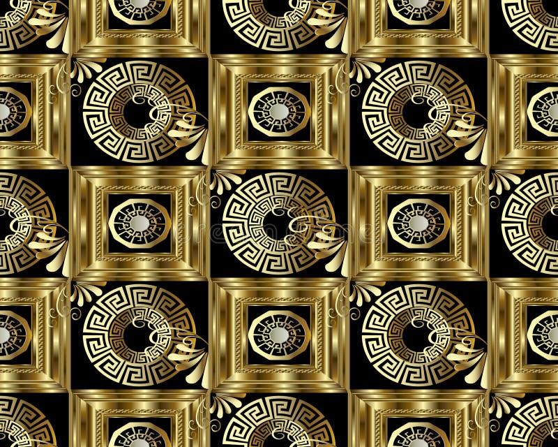 Modèle sans couture principal grec de l'or 3d de méandre Geom abstrait de vecteur illustration stock