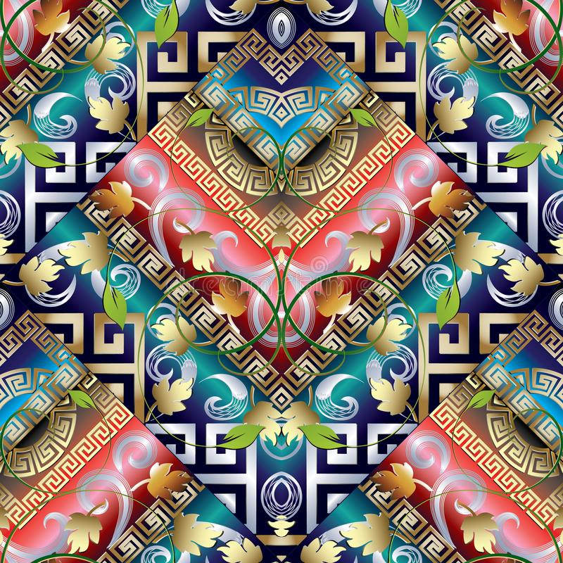 Modèle sans couture principal grec rayé de vintage coloré Dos floral illustration de vecteur