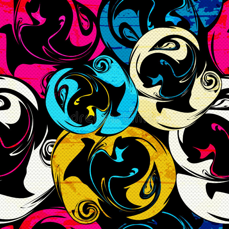 Modèle sans couture psychédélique lumineux de graffiti sur une illustration noire de vecteur de fond illustration de vecteur