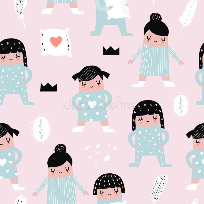Modèle sans couture puéril avec des filles dans des pyjamas illustration stock