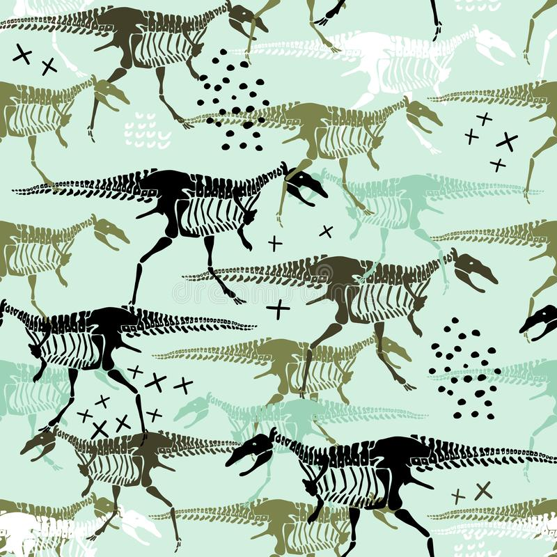 Modèle sans couture puéril avec des squelettes et des os de dinosaures Fond scandinave ? la mode de vecteur Perfectionnez pour l' illustration libre de droits