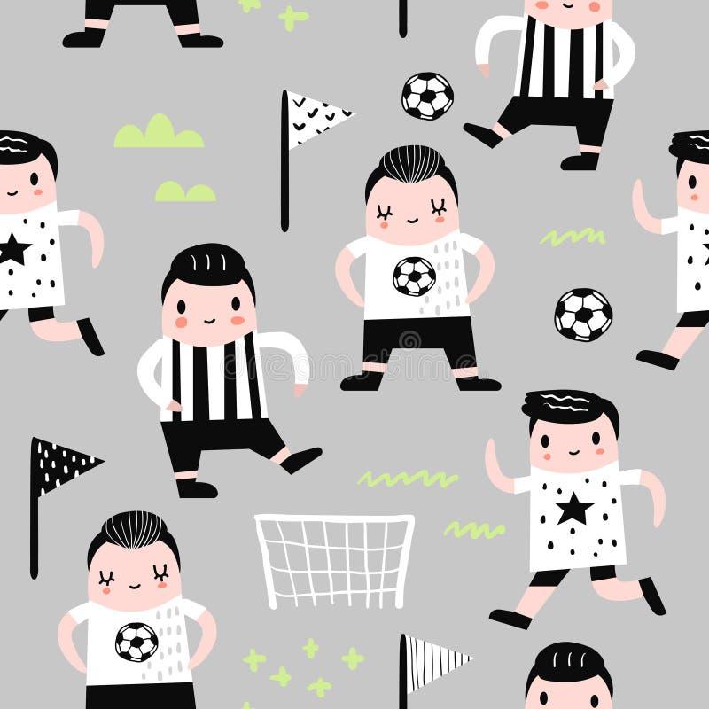 Modèle sans couture puéril avec le joueur de football de garçon illustration libre de droits
