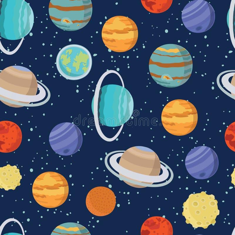 Modèle sans couture puéril de l'espace avec l'astronaute, la terre, le Saturne, l'UFO, les fusées et les étoiles illustration stock
