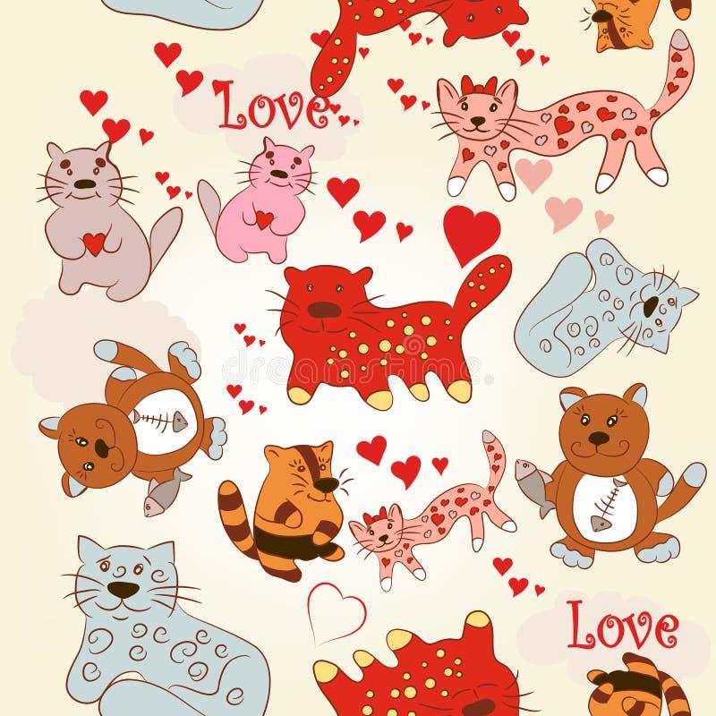 Modèle sans couture puéril de papier peint avec les chats mignons et drôles illustration stock