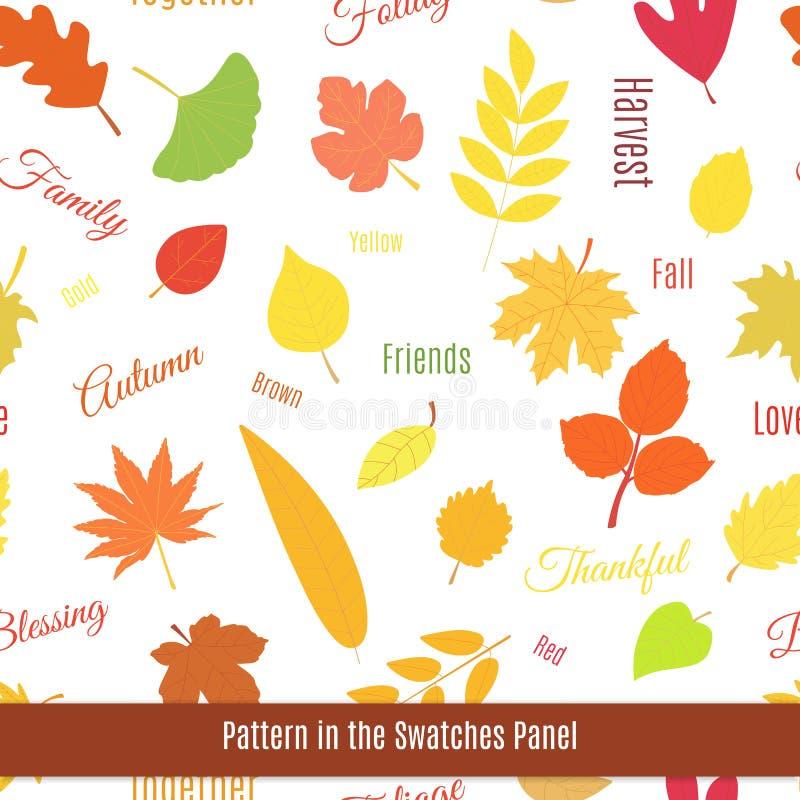 Modèle sans couture réaliste de feuilles d'automne illustration stock