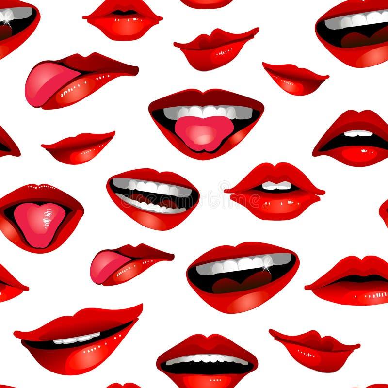 Modèle sans couture réaliste moderne de beauté avec des lèvres d'isolement sur le blanc illustration de vecteur