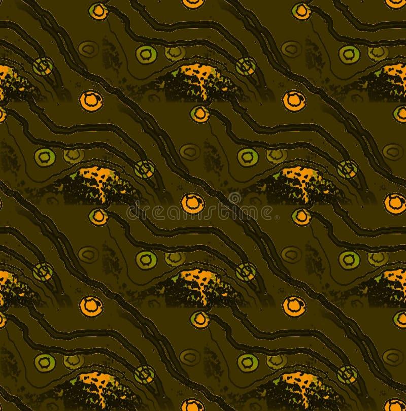 Modèle sans couture régulier de brun foncé avec les lignes onduleuses et le vert olive et l'orange de cercles concentriques diago illustration de vecteur