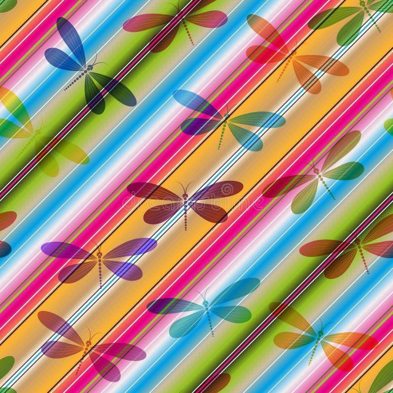 Modèle sans couture rayé de diagonale vive avec les libellules translucides colorées illustration libre de droits