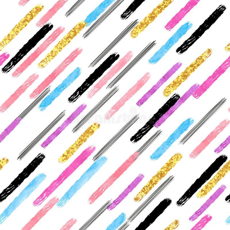 Modèle sans couture rayé diagonal coloré Rayures d'aquarelle de vecteur et courses de brosse illustration stock