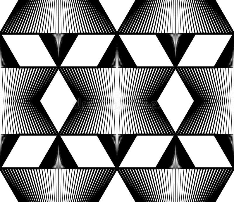Modèle sans couture rayé monochrome géométrique, noir et blanc illustration de vecteur