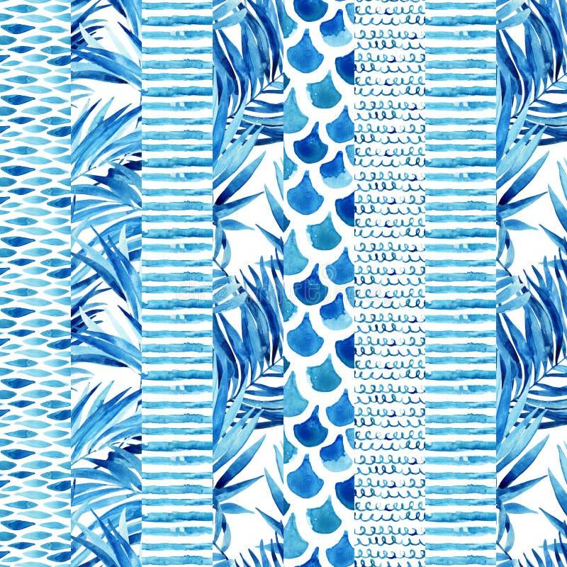 Modèle sans couture rayé texturisé d'aquarelle illustration de vecteur