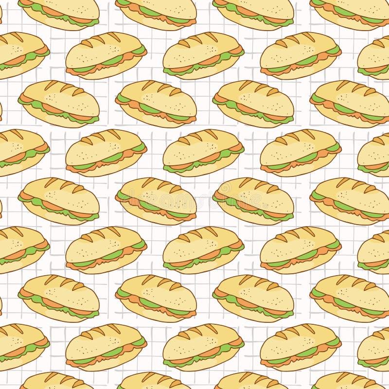Modèle sans couture rempli de vecteur de baguettes de pain, tiré par la main illustration stock