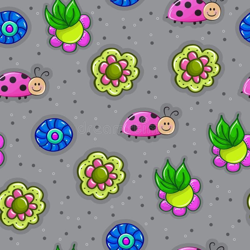 Modèle sans couture renversant avec des insectes en fleurs dans le vecteur crainte illustration stock