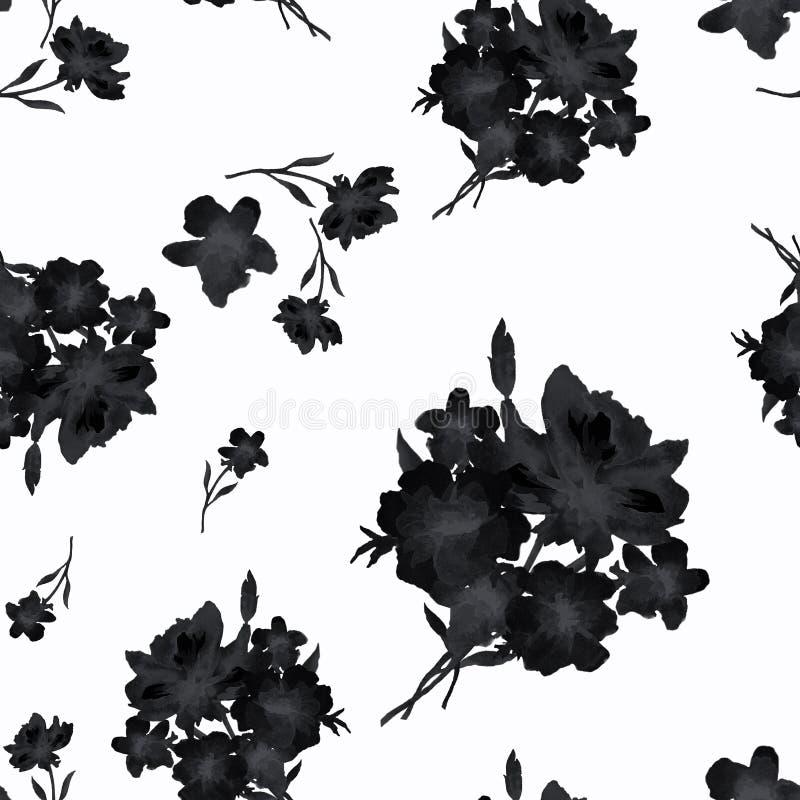 Modèle sans couture retenu par aquarelle avec le bouquet noir des fleurs sur le fond blanc Style de la Chine illustration stock