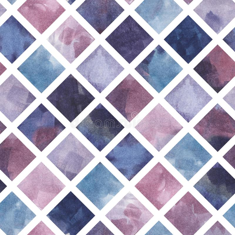 Modèle sans couture rhombique de la peinture tirée par la main d'aquarelle, fond violet, verre souillé illustration libre de droits