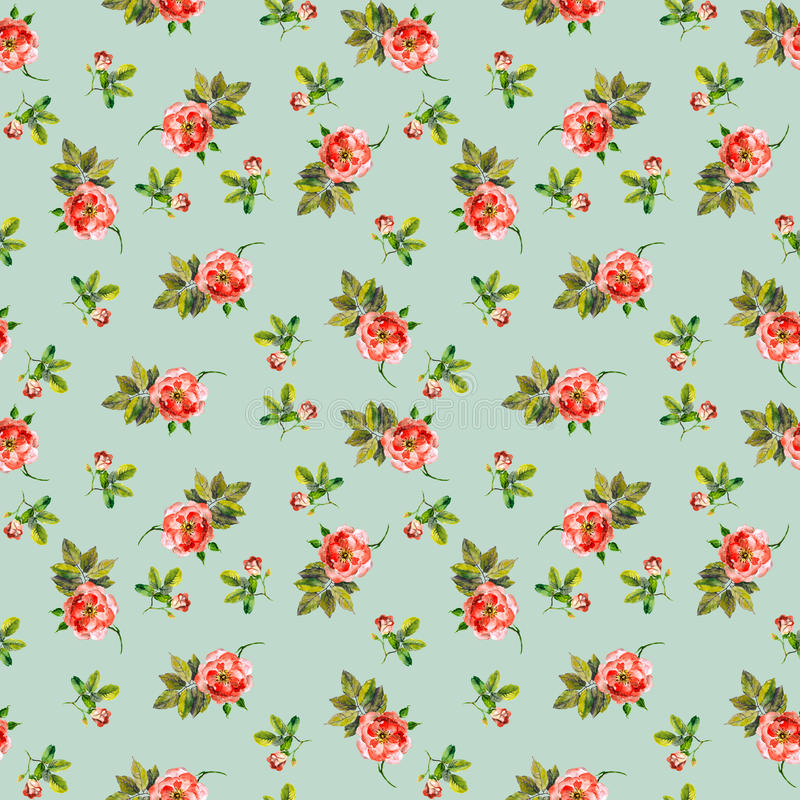 Modèle sans couture romantique avec de petits roses et bourgeons watercolor illustration de vecteur