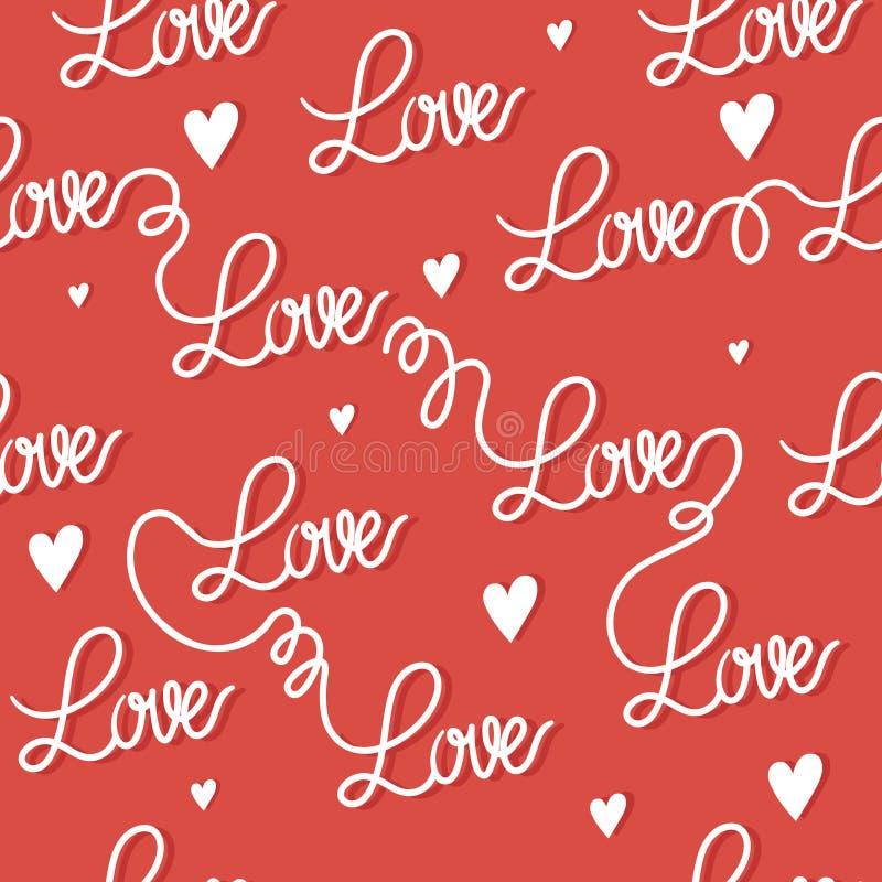 Modèle sans couture romantique d'amour d'inscription, rouge et blanc illustration stock