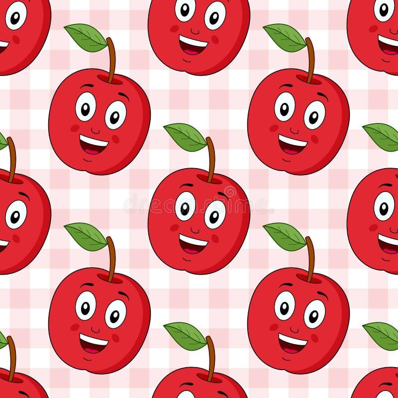 Modèle sans couture rouge d'Apple de bande dessinée illustration de vecteur