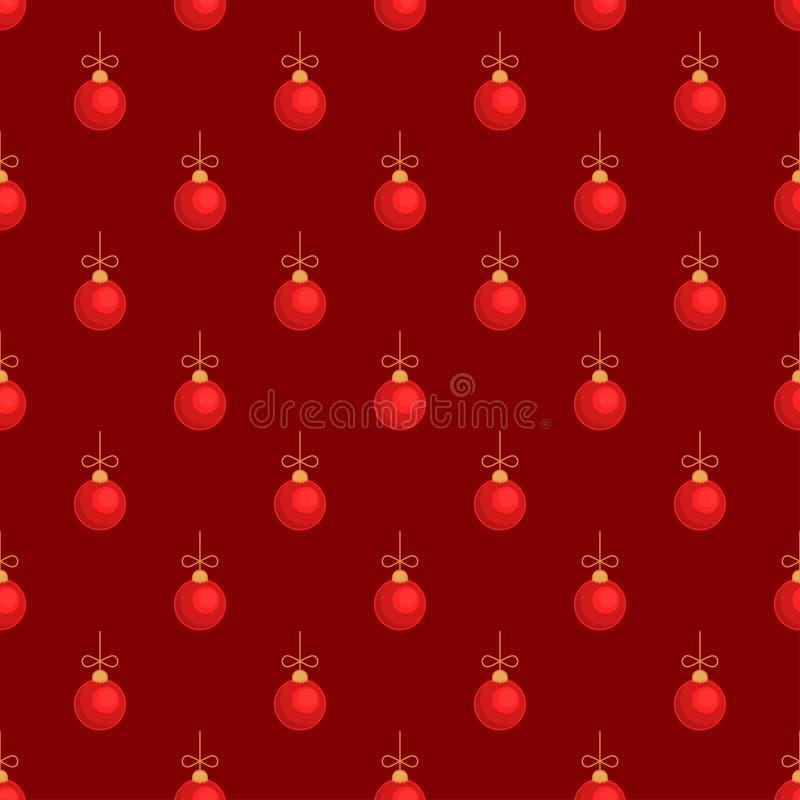 Modèle sans couture rouge de boule de jouet d'arbre de Joyeux Noël illustration de vecteur