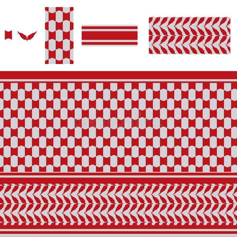 Modèle sans couture rouge de vague arabe de rectangle illustration stock