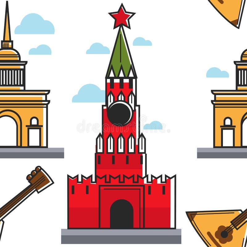 Modèle sans couture russe Kremlin d'architecture et de musique et bâtiment d'Amirauté illustration stock