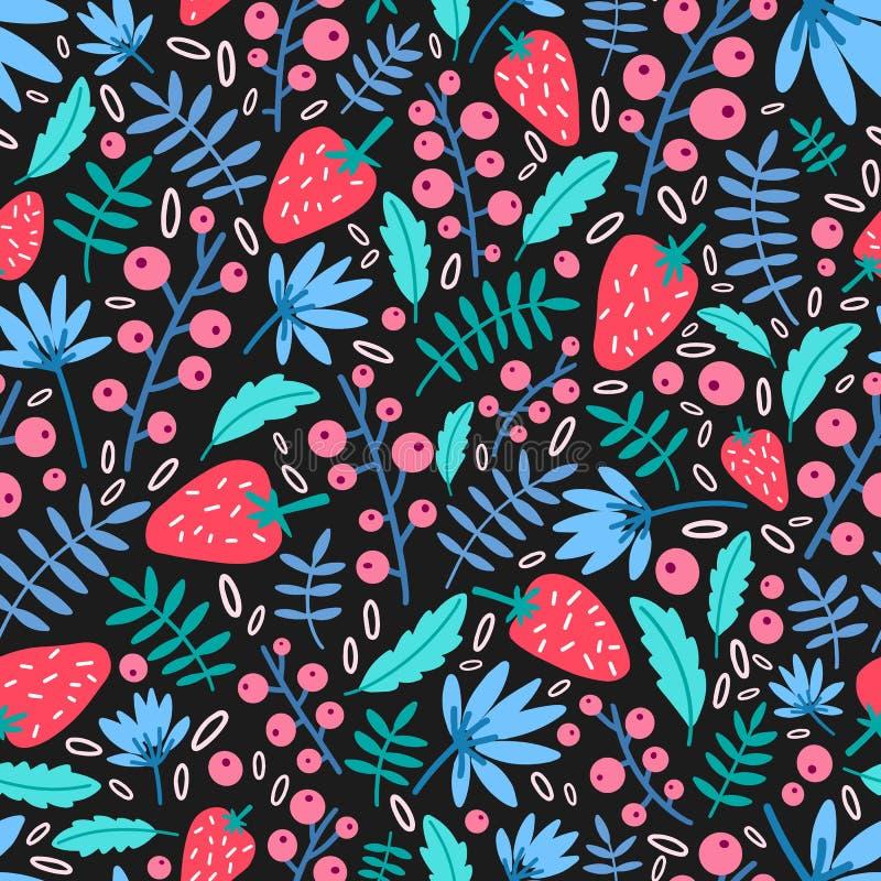 Modèle sans couture saisonnier avec des fraises et des feuilles de jardin sur le fond noir Contexte botanique avec l'été illustration stock
