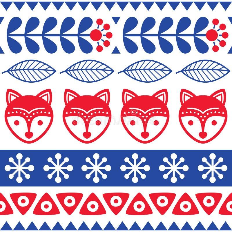 Modèle sans couture scandinave d'art populaire de vecteur - conception florale finlandaise avec des renards, style nordique illustration stock