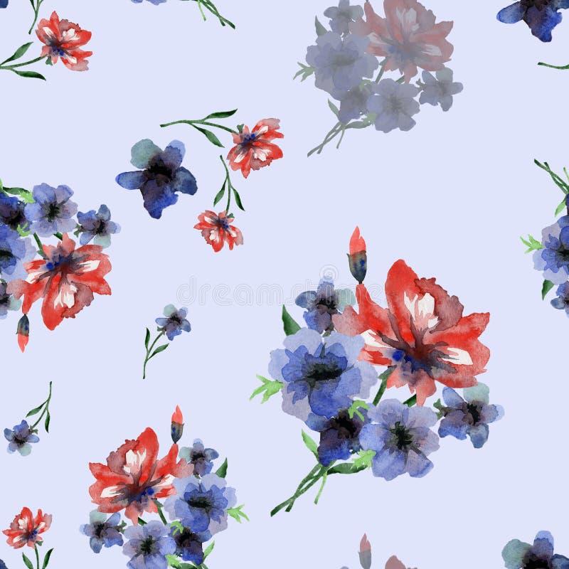 Modèle sans couture sensible d'aquarelle avec les fleurs rouges et bleues d'étés sur le fond bleu-clair illustration stock