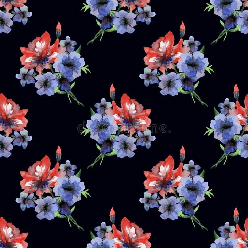 Modèle sans couture sensible d'aquarelle avec les fleurs rouges et bleues d'étés sur le fond noir illustration stock