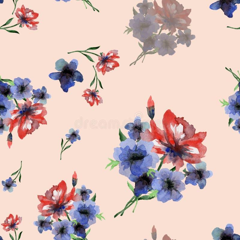 Modèle sans couture sensible d'aquarelle avec les fleurs rouges et bleues d'étés sur le fond rose-clair illustration libre de droits