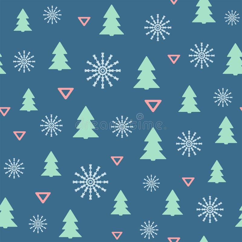 Modèle sans couture simple de nouvelle année avec des arbres, des flocons de neige et des triangles de Noël Illustration de vecte illustration de vecteur