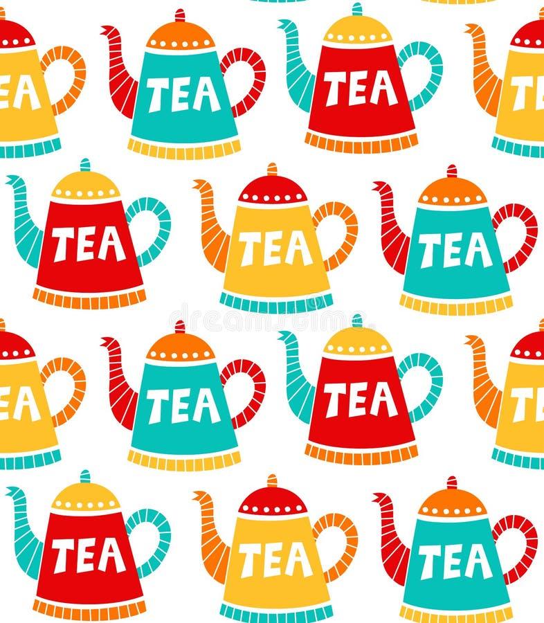 Modèle sans couture simple mignon de vecteur de pots de thé illustration stock