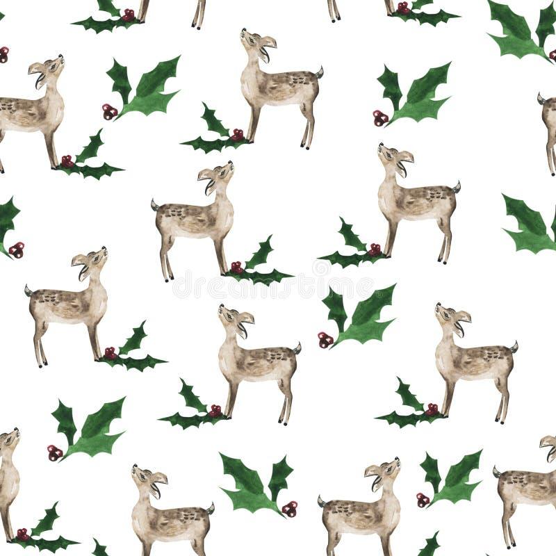 Modèle sans couture sur le fond blanc, la nouvelle année et le Noël heureux illustration de vecteur