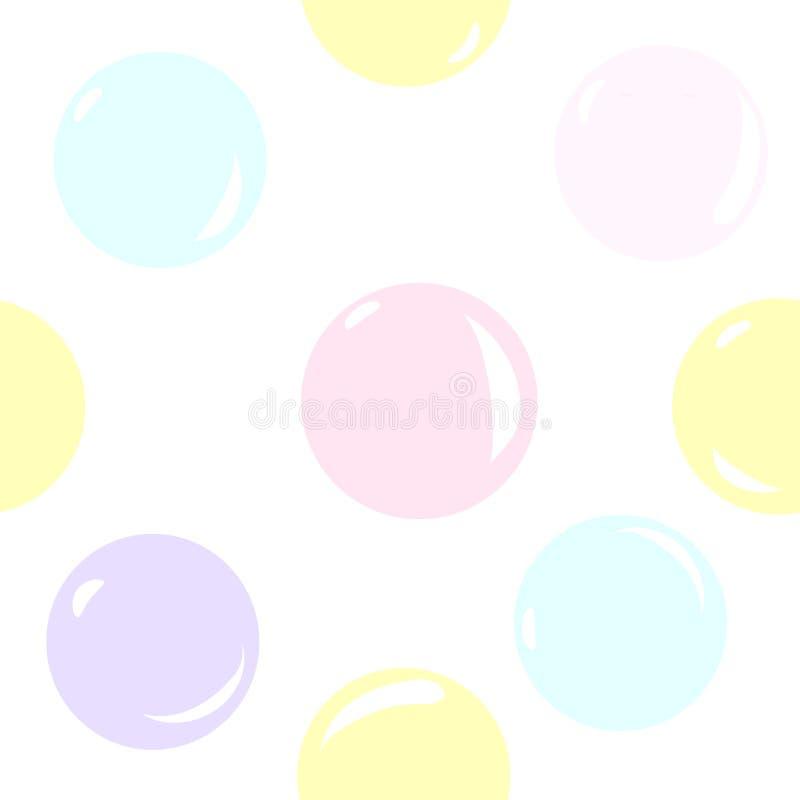 Modèle sans couture sur le fond transparent avec des bulles de savon de couleurs pastel Modèle coloré du ` s d'enfants illustration stock