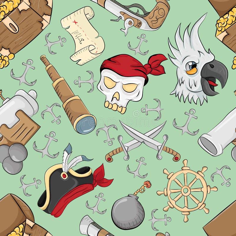 Modèle sans couture sur le thème du fond vert de symboles de pirate illustration libre de droits