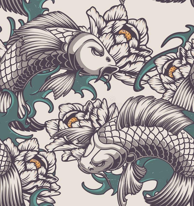 Modèle sans couture sur le thème japonais sur un fond clair illustration stock