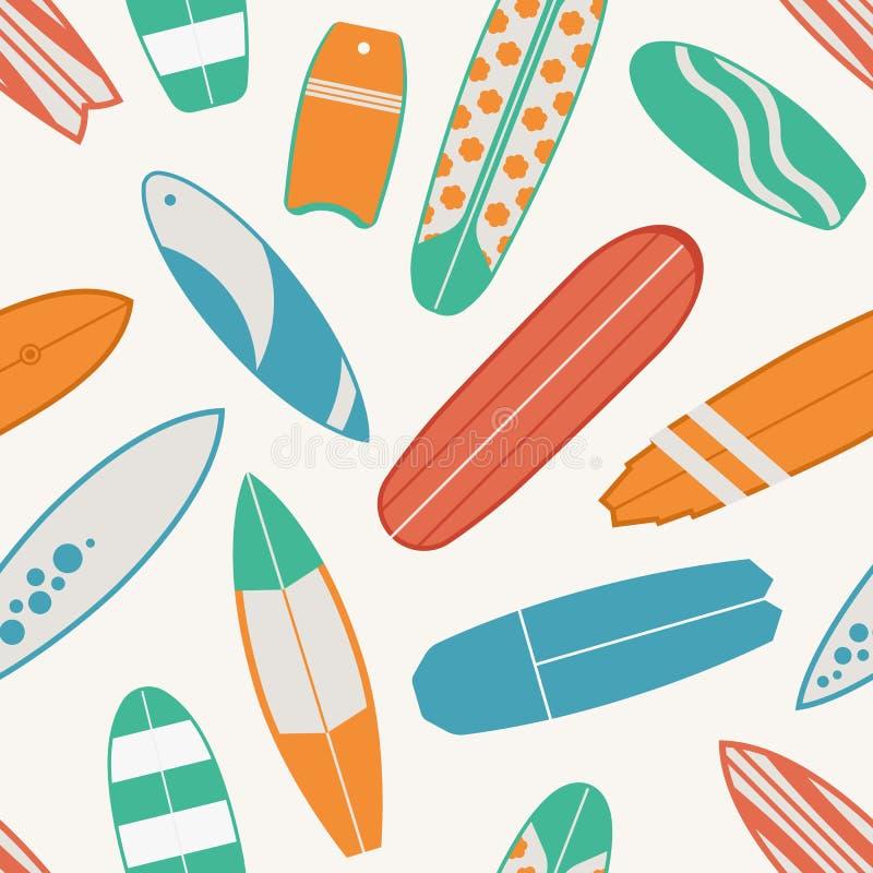 Modèle sans couture surfant avec des planches de surf illustration de vecteur