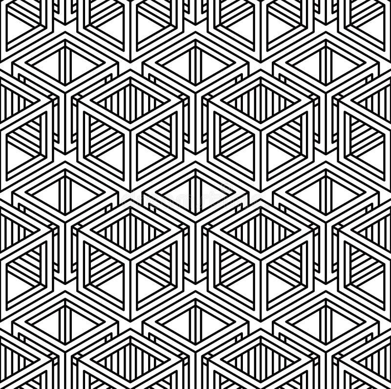 Modèle sans couture symétrique noir et blanc de contraste avec l'interwe illustration stock