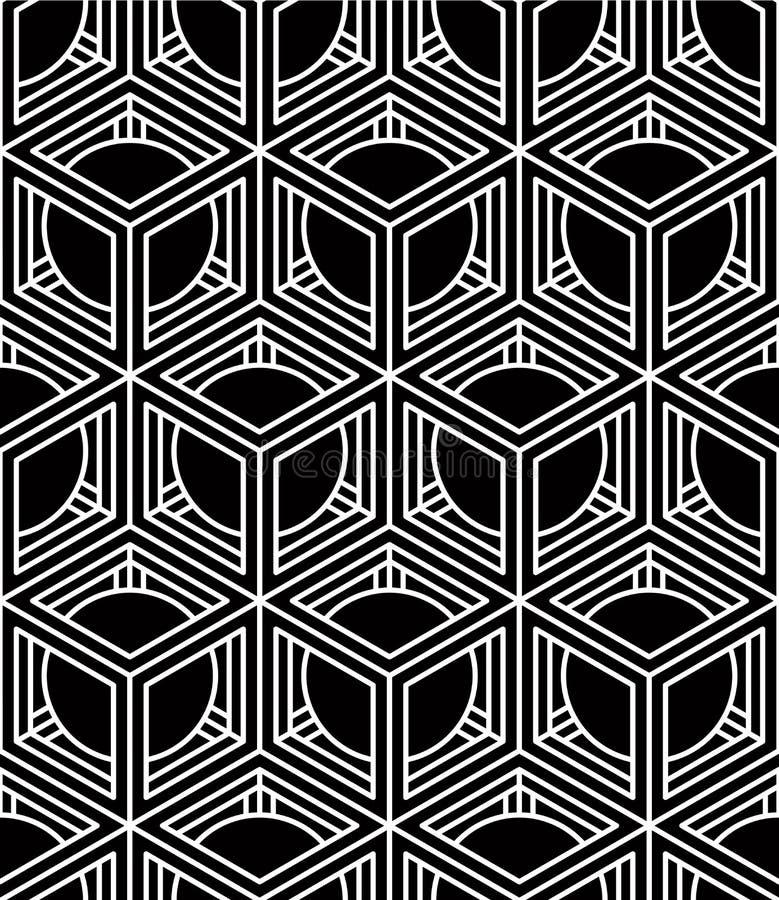 Modèle sans couture symétrique noir et blanc de contraste avec l'interwe illustration libre de droits