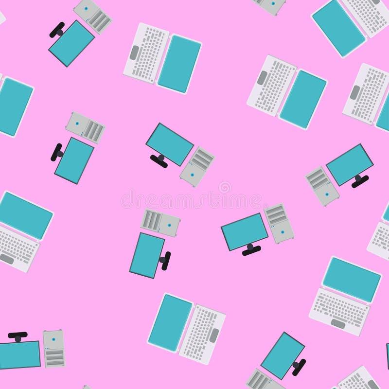 Modèle sans couture, texture des ordinateurs portables et des ordinateurs de bureau numériques puissants modernes avec un moniteu illustration stock