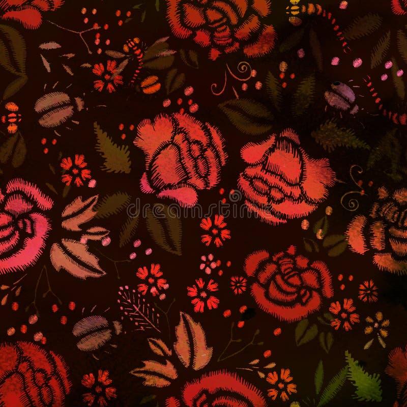 Modèle sans couture texturisé d'aquarelle Roses de broderie illustration libre de droits