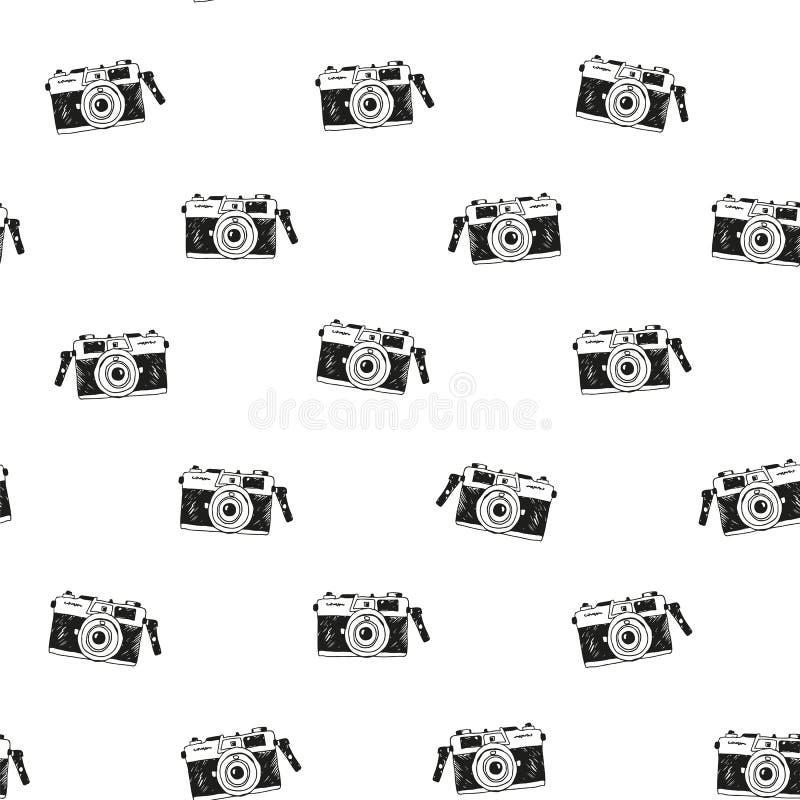 Modèle sans couture tiré par la main avec la caméra de griffonnage illustration stock
