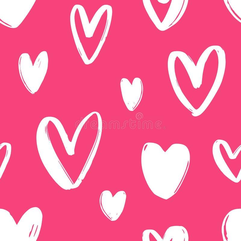 Modèle sans couture tiré par la main avec des coeurs sur le fond rose lumineux Contexte de fête avec l'amour, la passion et roman illustration stock