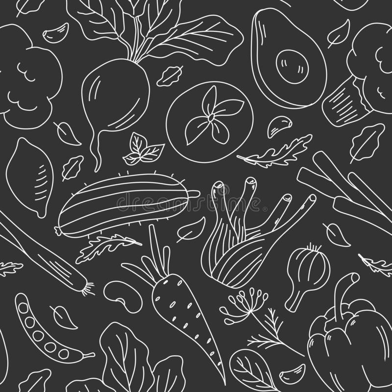 Modèle sans couture tiré par la main avec des légumes Ensemble de vecteur de style de croquis illustration de vecteur